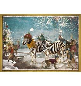 Kerstkaart - zebra feestje