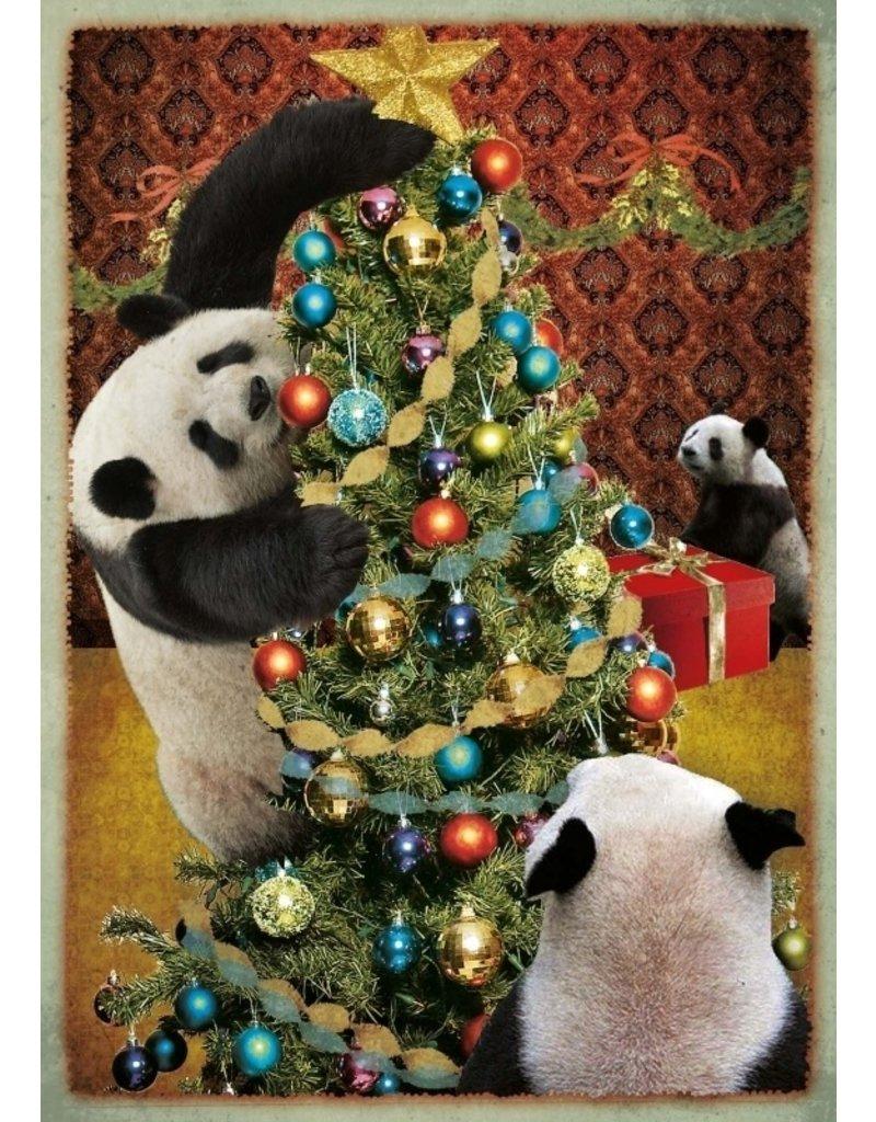 Kerstkaart - panda kerst