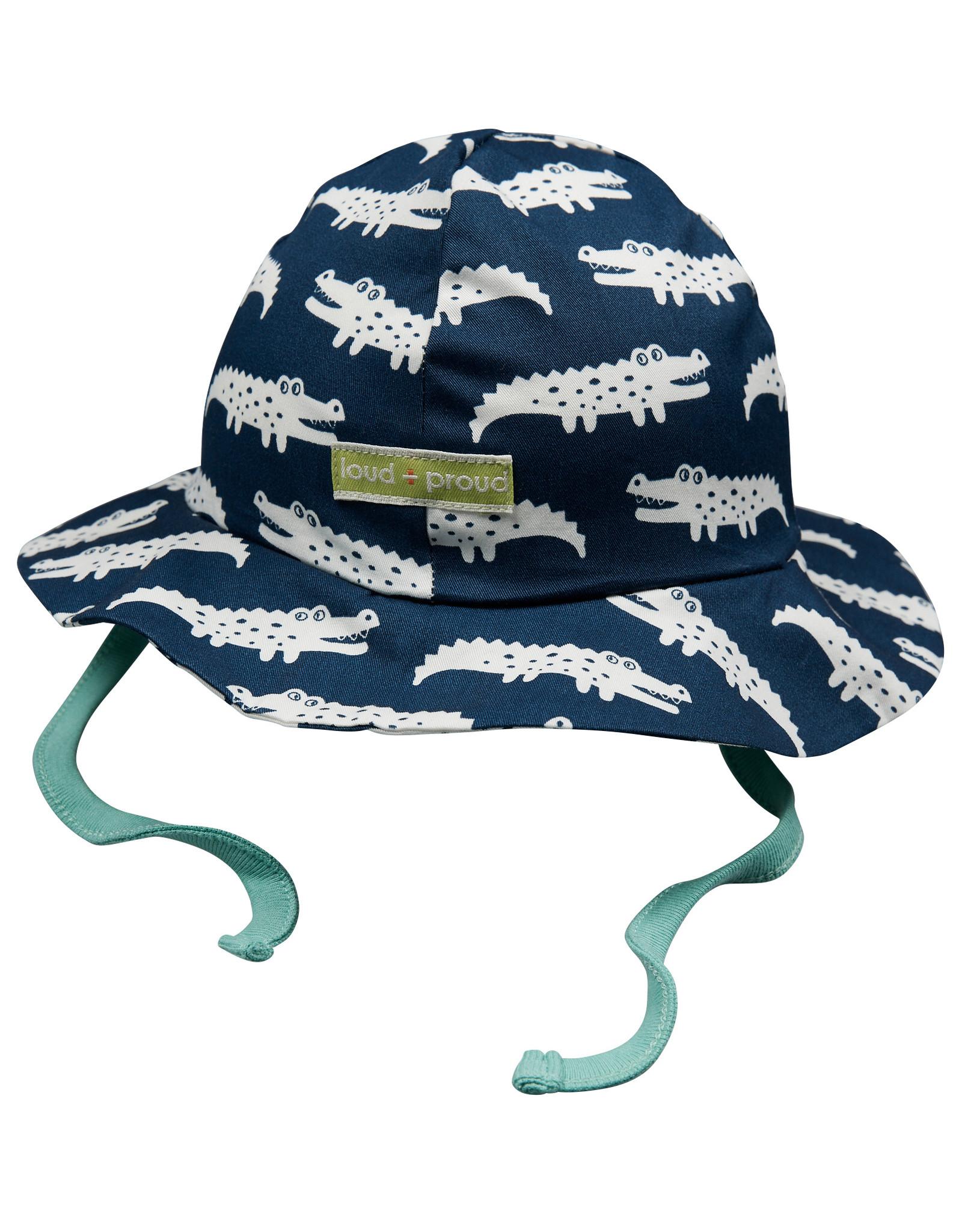 loud+proud Kinder zomerhoedje - blauwe krokodillen