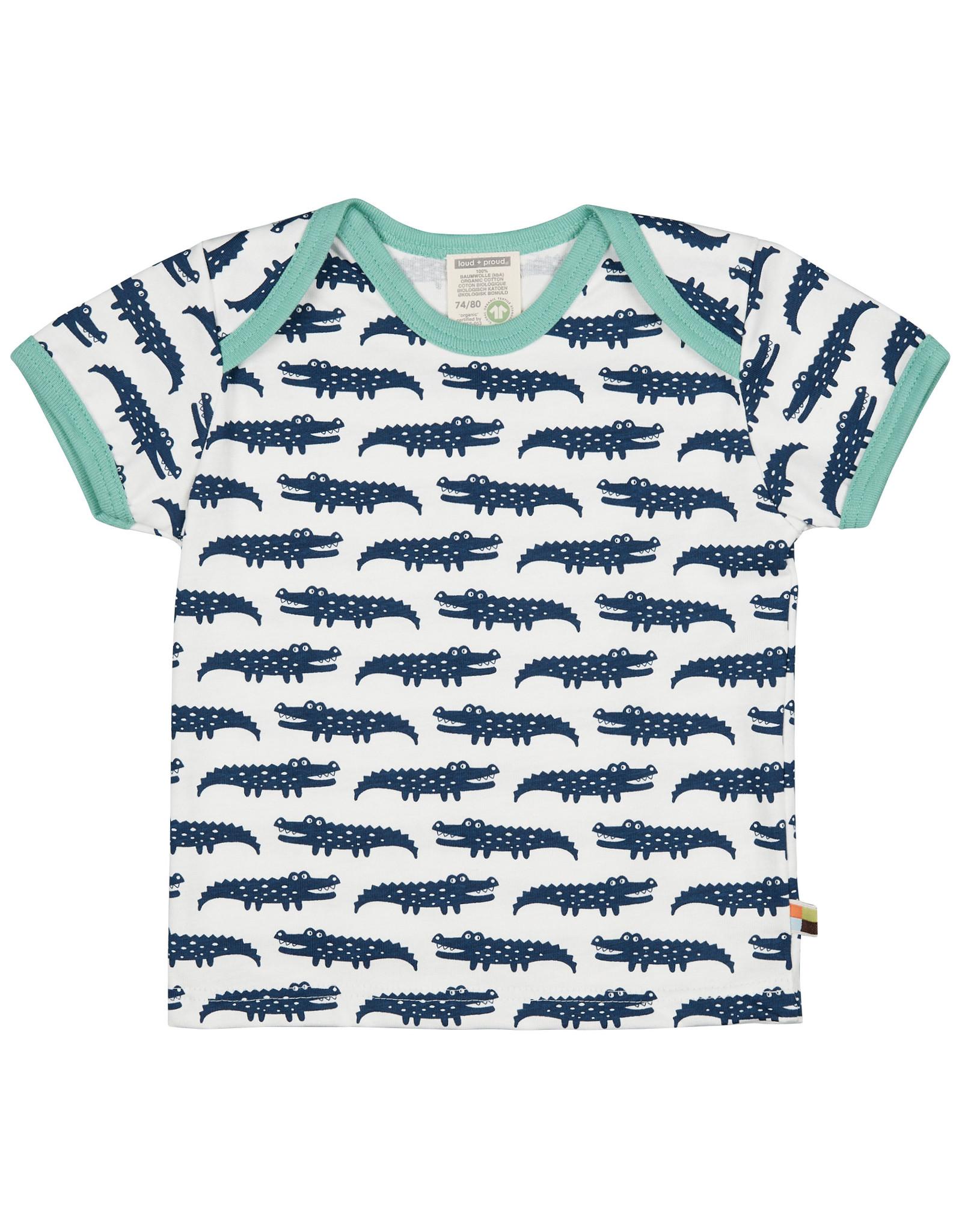 loud+proud Kinder t-shirt - donker blauwe krokodillen