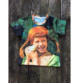 Pippi Langkous Kinder t-shirt - Pippi met kuiken