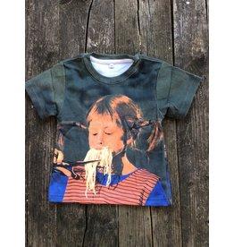 Pippi Langkous Kinder t-shirt - Pippi eet spaghetti