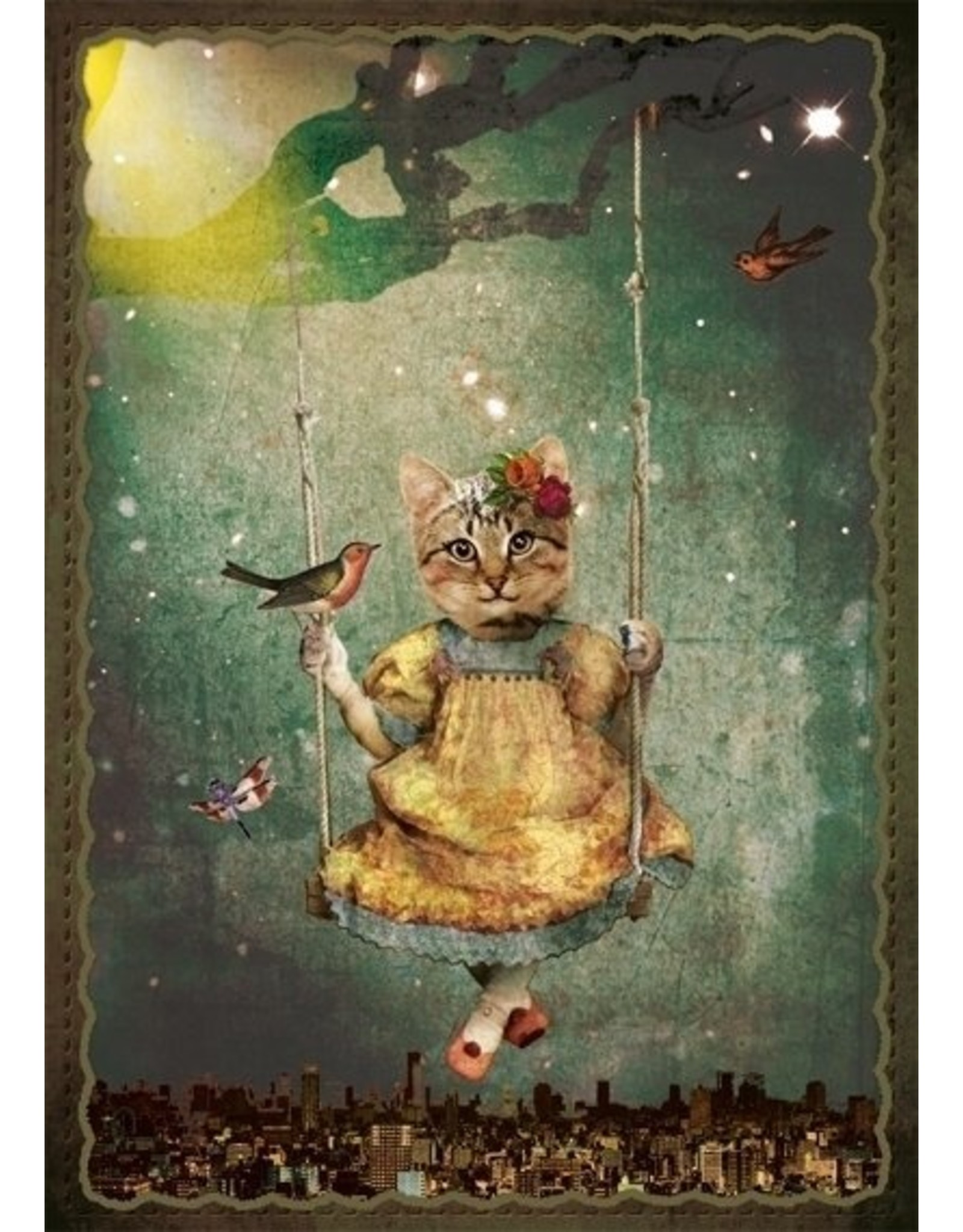 Postcard - swing kitten