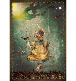 Postcard - swing kitten