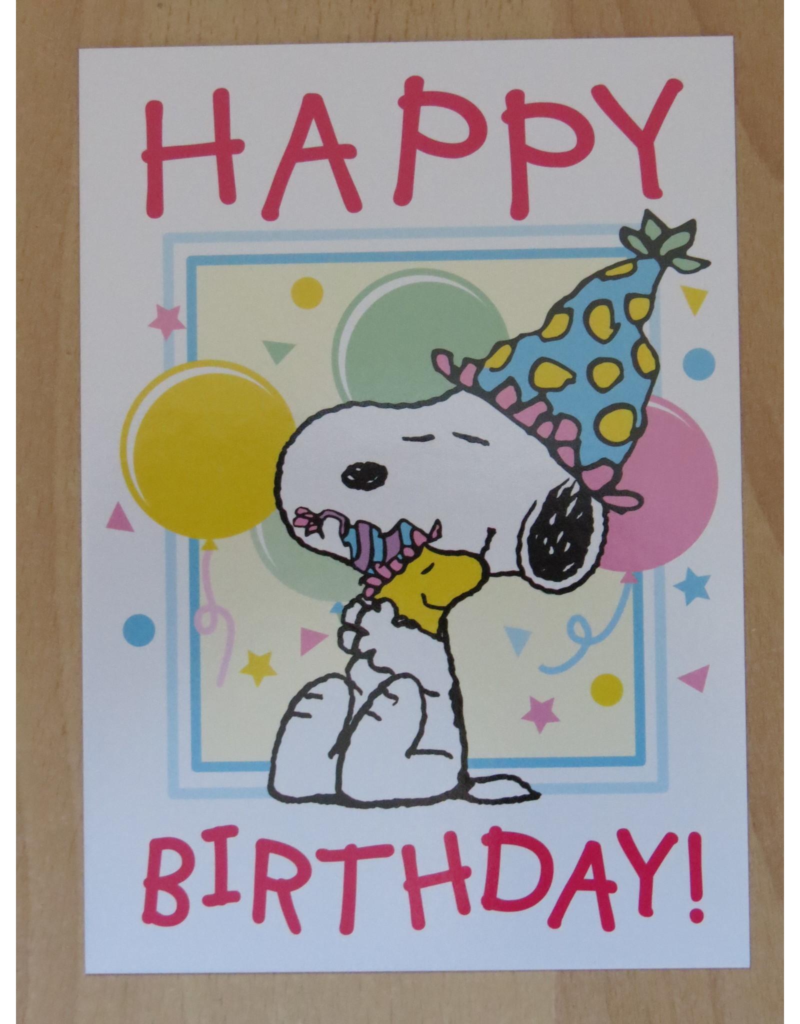Snoopy verjaardagskaart - knuffel