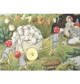 Elsa Beskow Elsa Beskow kaart - De kerstman kinderen winkelwagen