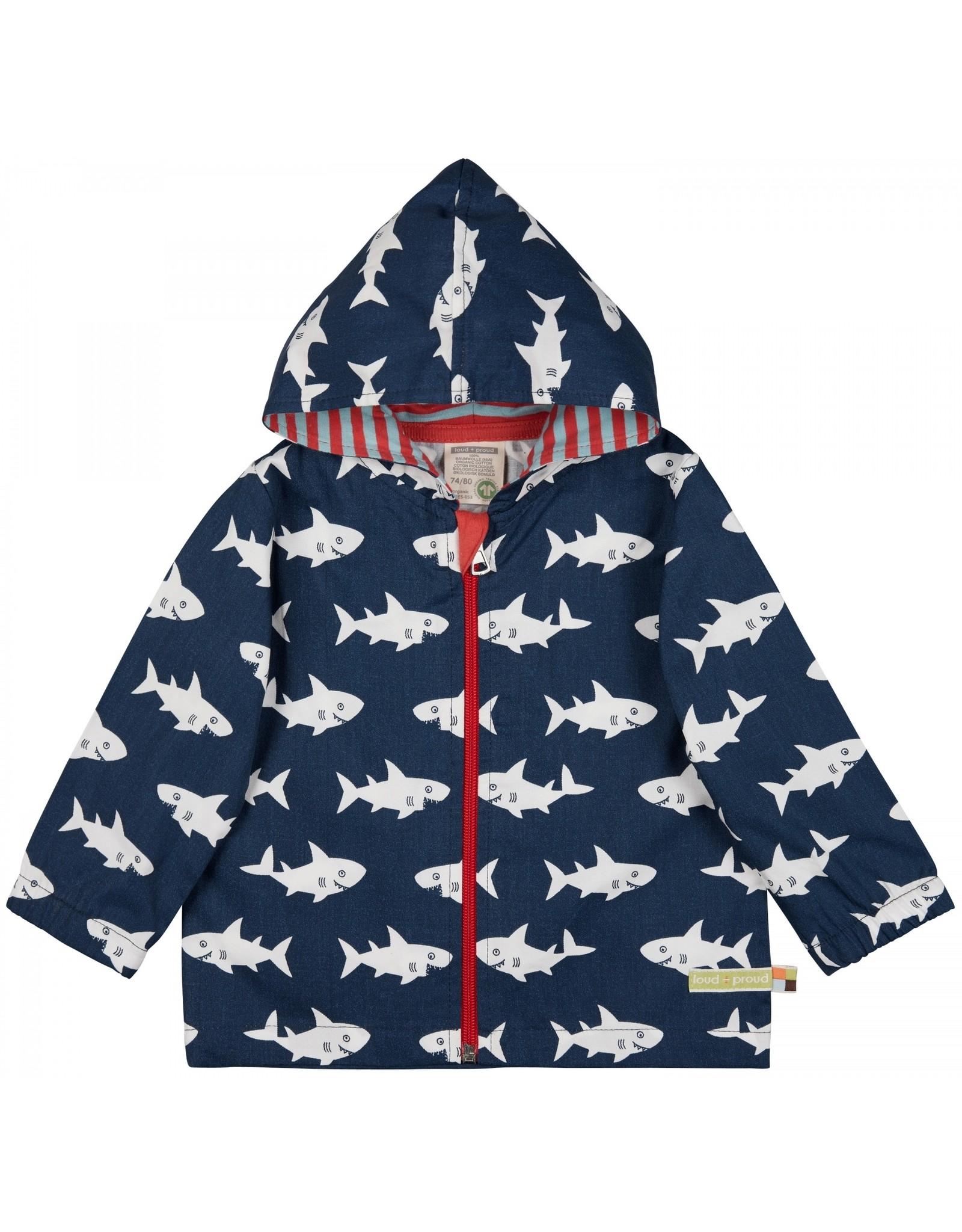 loud+proud Children's outdoor jacket - blue with sharks