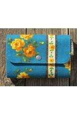 Huisteil Kleine retro portemonnee - blauw bloemen