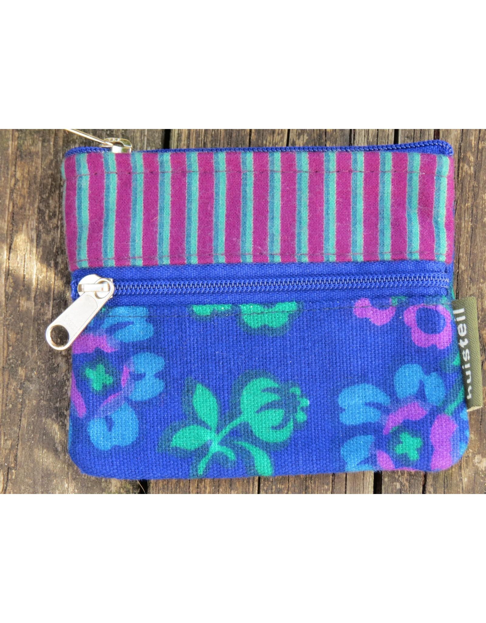 Huisteil Kleine vintage portemonnee - blauw streep