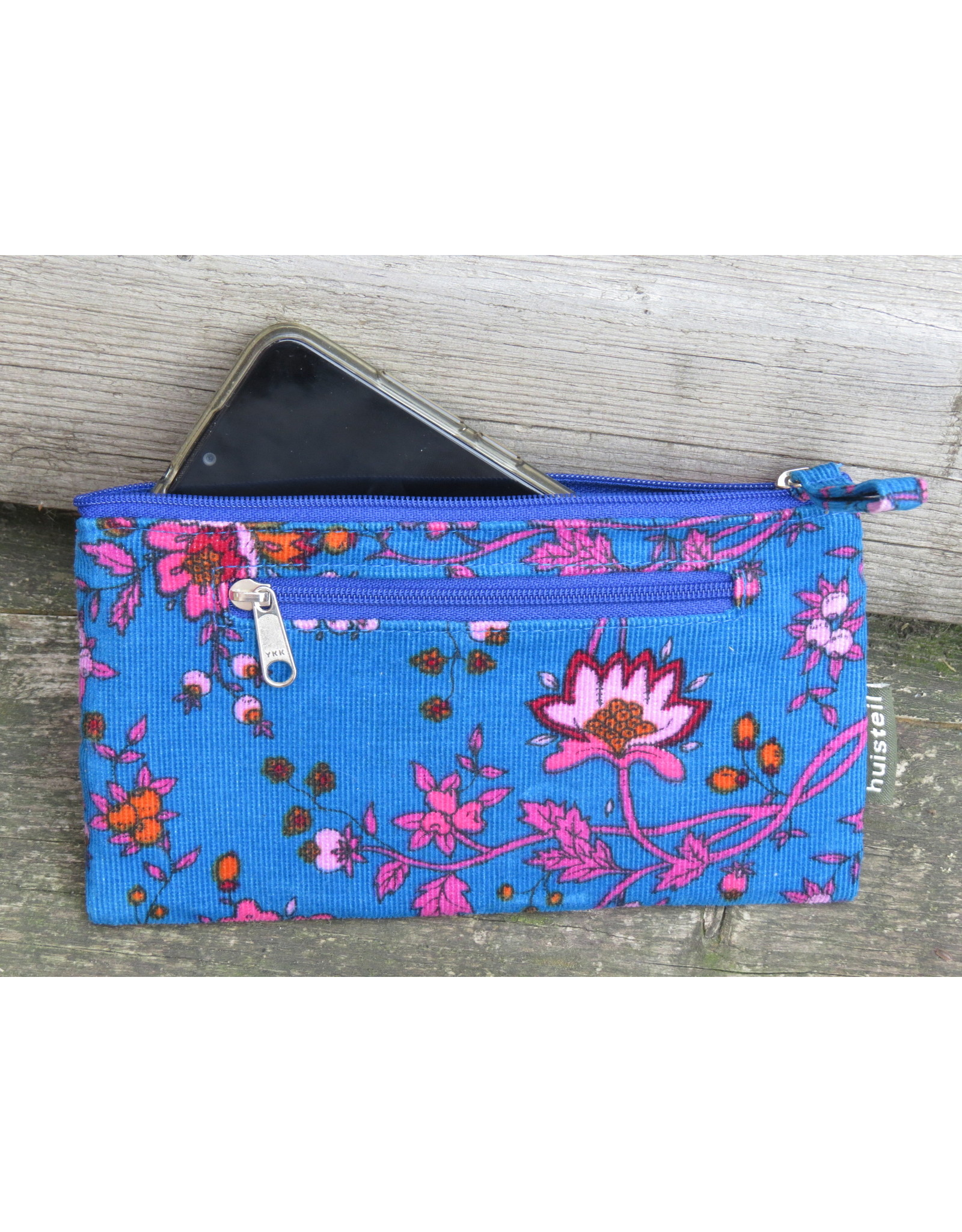 Huisteil Vintage portemonnee - mobiel - blauwe bloem