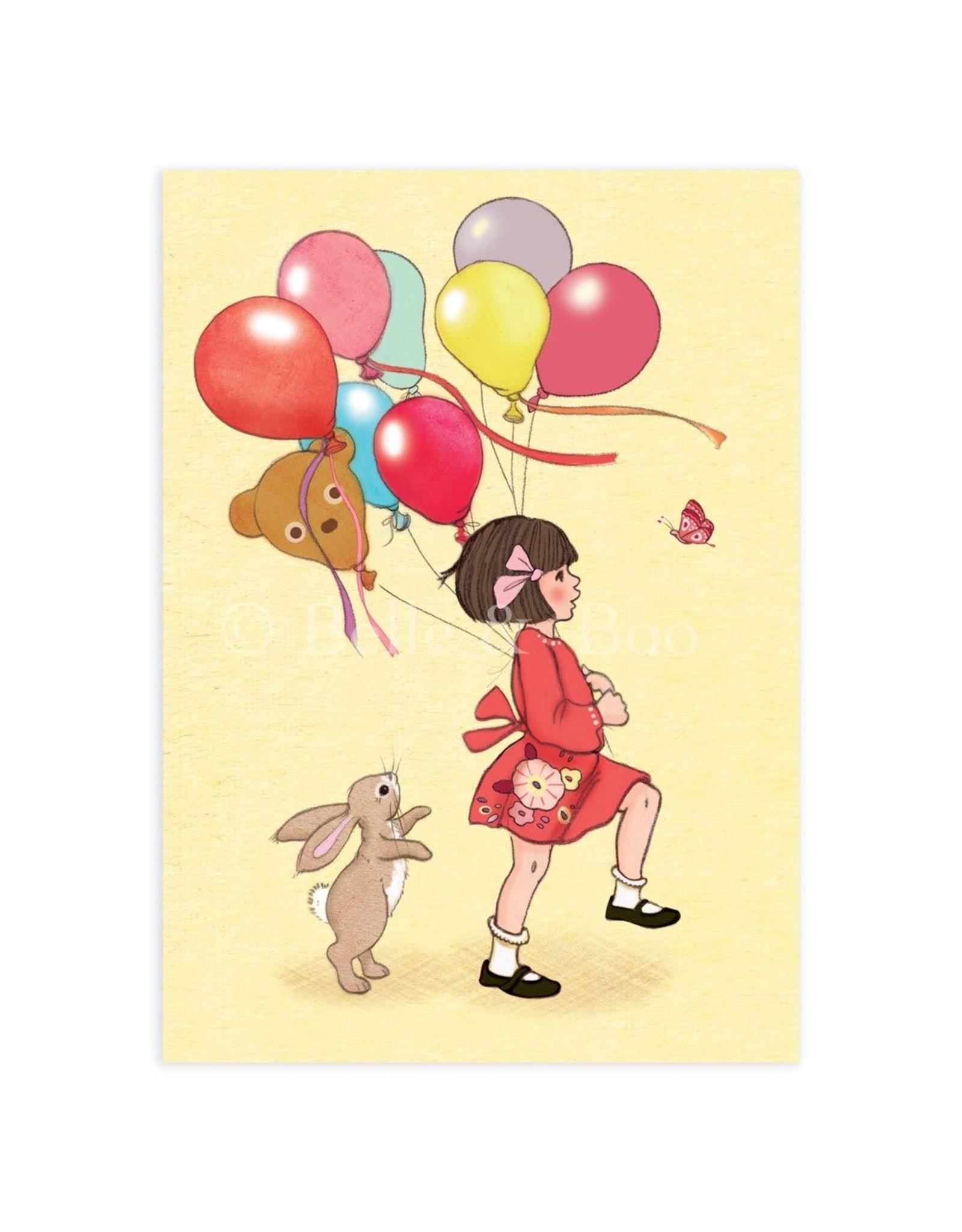 Belle & Boo kaart - verjaardag ballonnen