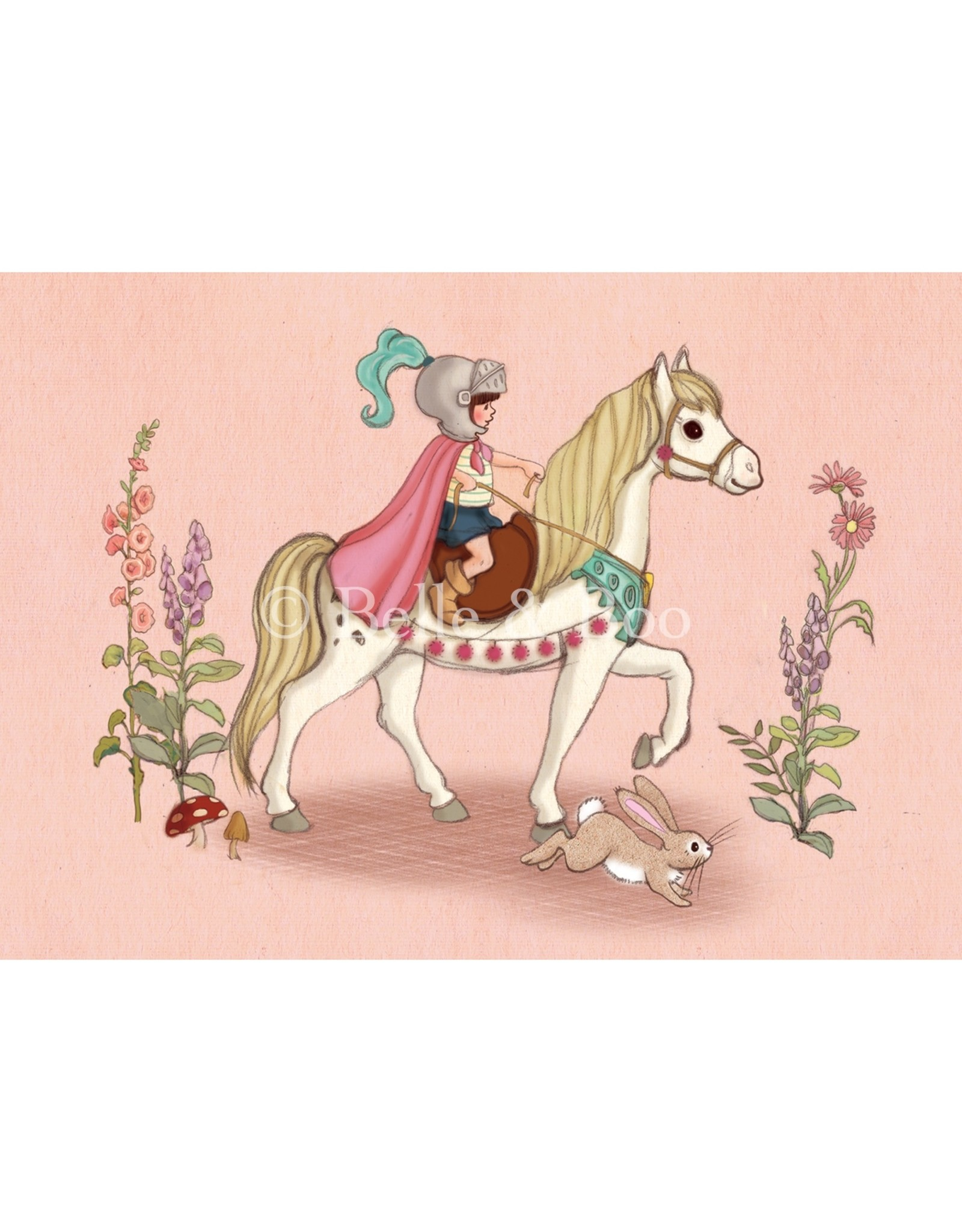 Belle & Boo card - brave knight