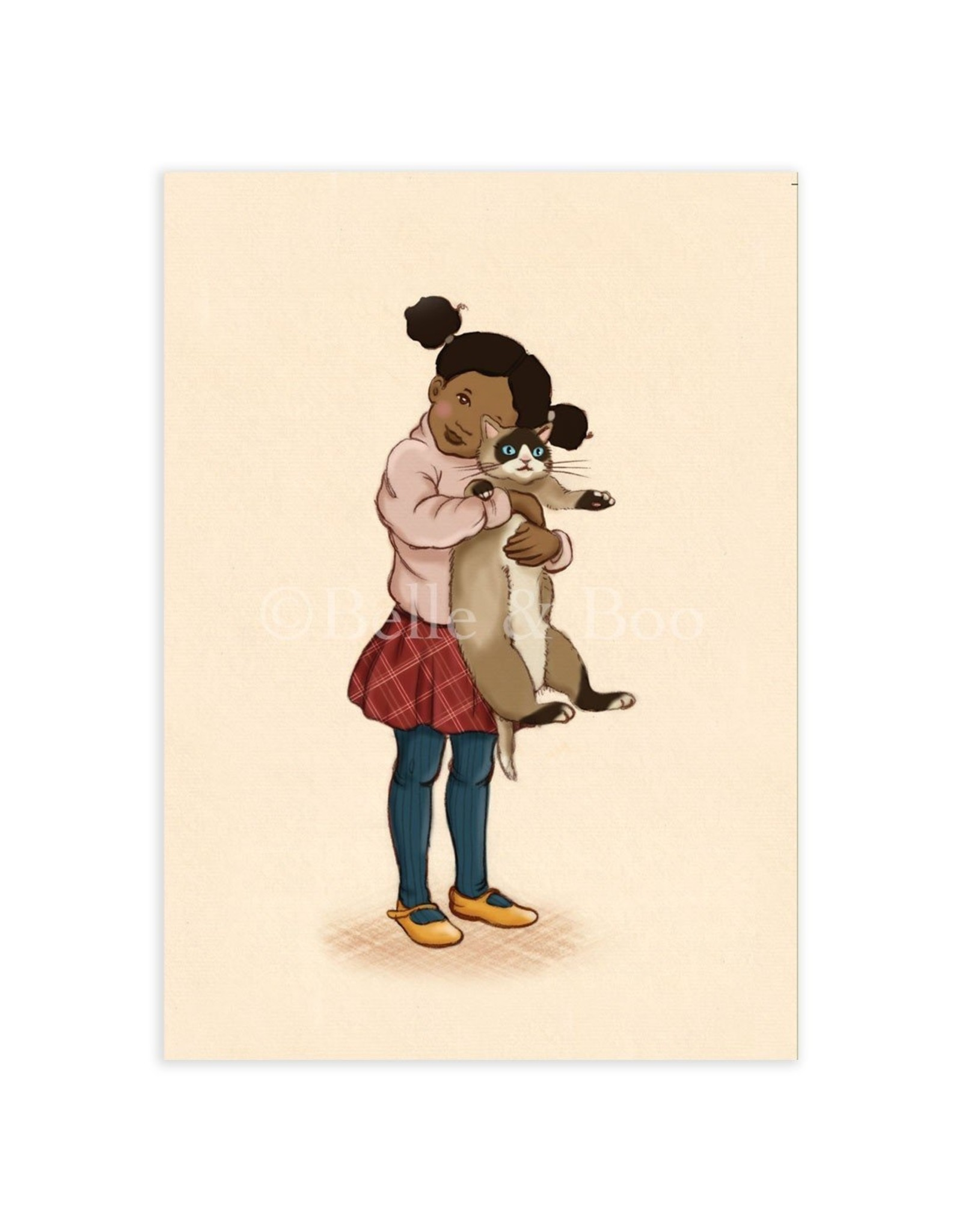 Belle & Boo kaart - kat knuffelen