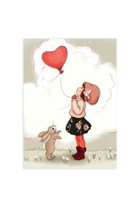 Belle & Boo card - heart shaped balloon