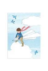 Belle & Boo kaart - papieren vliegtuig