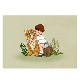 Belle & Boo card - tiger cub hug