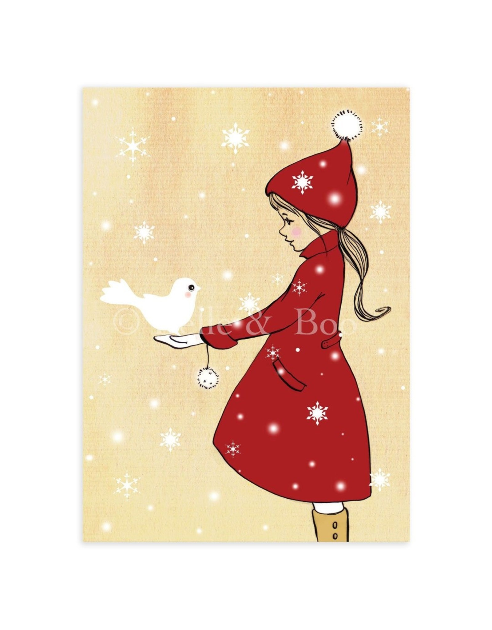 Belle & Boo christmas card - elle and the snowdove