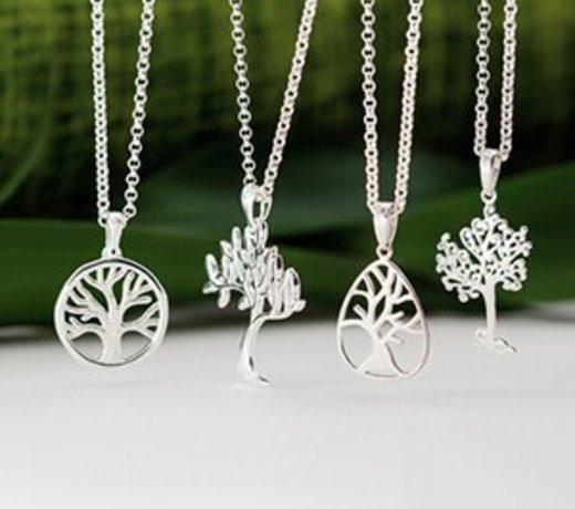 Zilveren levensboom sieraden