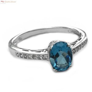 ZilverVoorJou Zilveren swiss blue, blauwe topaas edelsteen ring