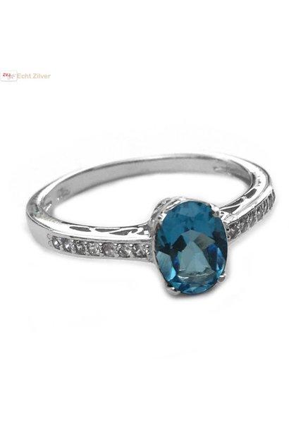 Zilveren swiss blue, blauwe topaas edelsteen ring