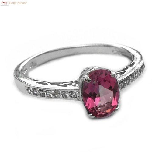 ZilverVoorJou Zilveren roze tourmalijn edelsteen ring