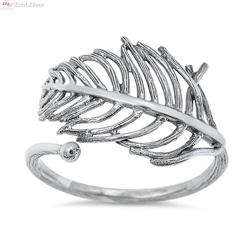 ZilverVoorJou Zilveren sierlijk open gewerkte blad leaf ring