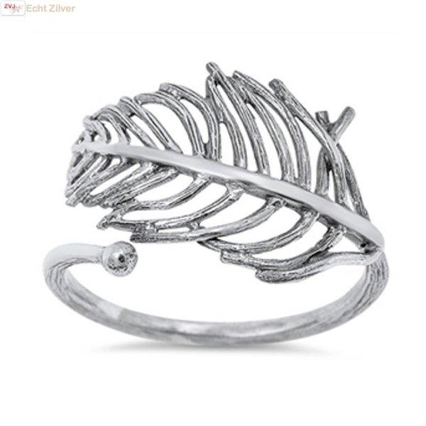 Zilveren sierlijk open gewerkte blad leaf ring
