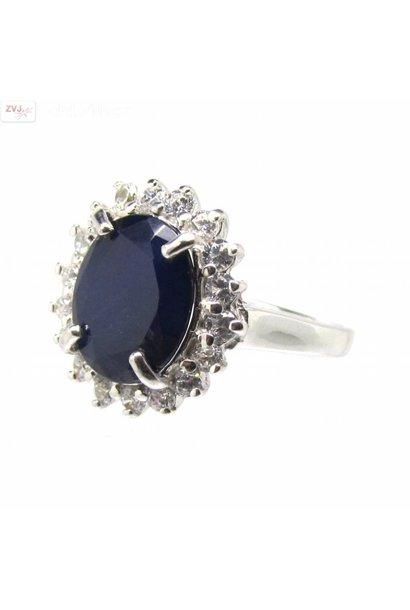 Zilveren Kate Diana ring met natuurlijke blauwe saffier