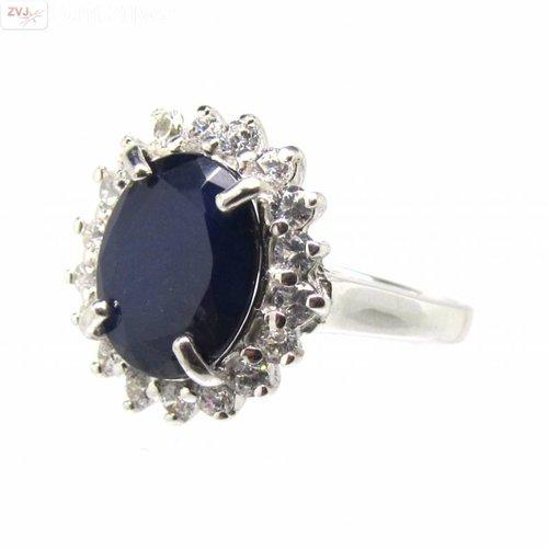 ZilverVoorJou Zilveren Kate Diana ring met natuurlijke blauwe saffier