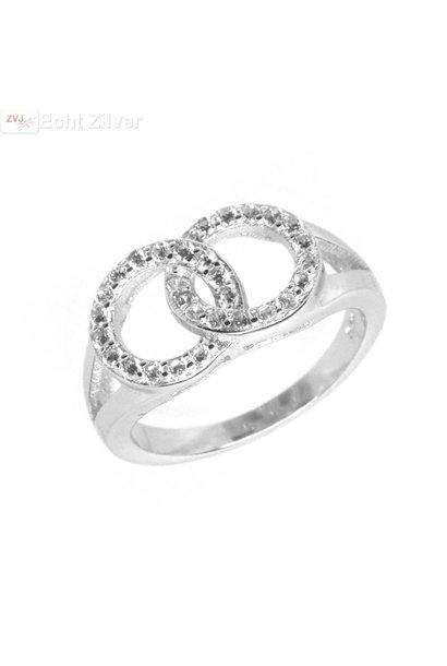 Zilveren rhodium twee cirkels zirkonia ring