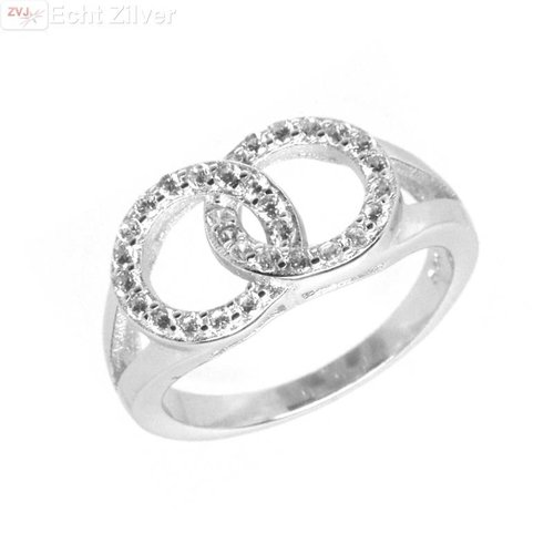 ZilverVoorJou Zilveren rhodium twee cirkels zirkonia ring