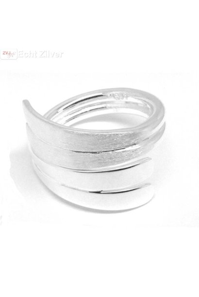 Zilveren mat hoogglans design ring