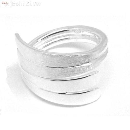 ZilverVoorJou Zilveren mat hoogglans design ring