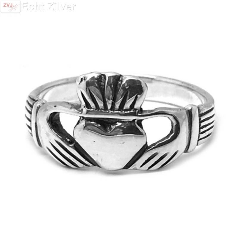 Zilveren 925 keltische claddagh ring-1