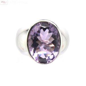 ZilverVoorJou Zilveren rhodium paarse amethist ring
