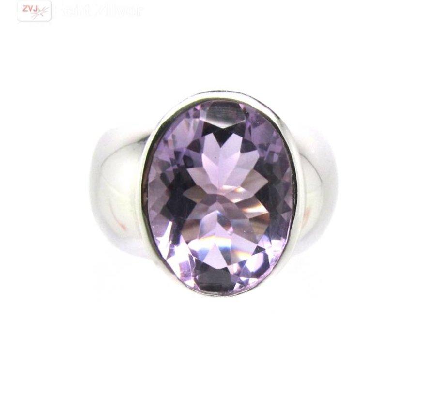 Zilveren rhodium paarse amethist ring