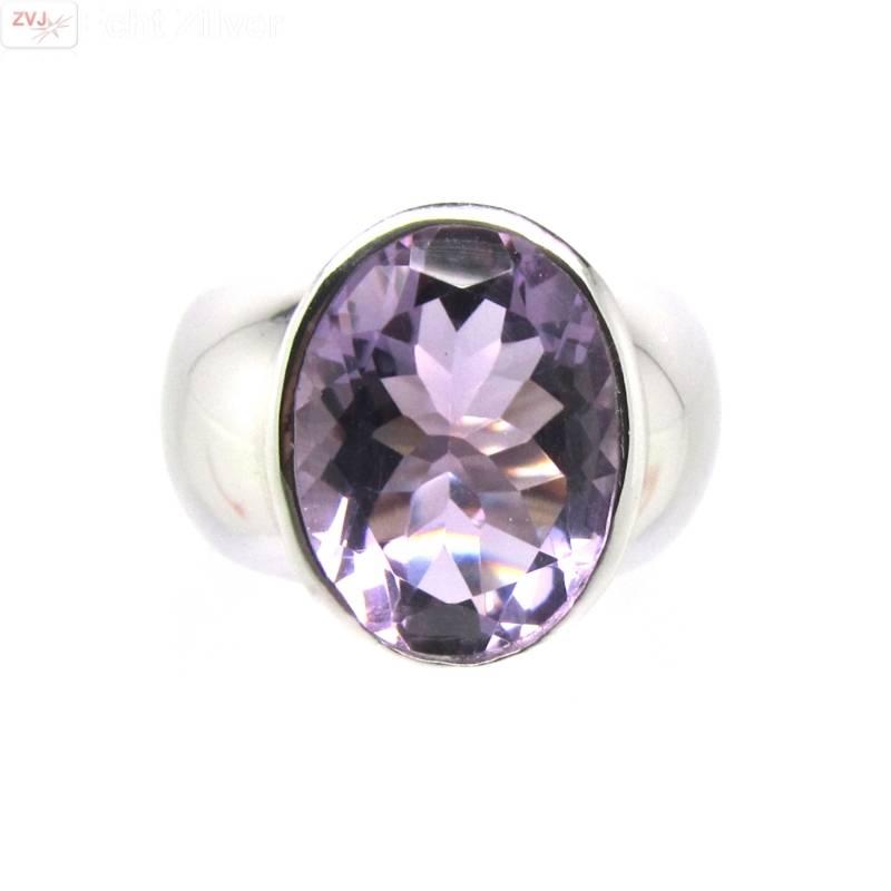 Zilveren rhodium paarse amethist ring-1