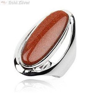 ZilverVoorJou Zilveren grote gouden zandsteen ring