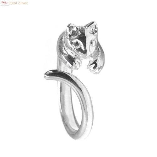 ZilverVoorJou Zilveren open poes kat ring