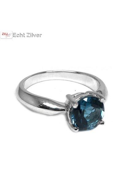 Zilveren London Blue Topaas edelsteen ring