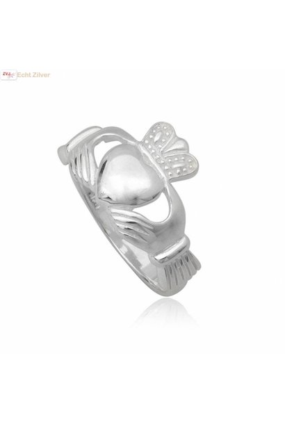 Zilveren keltische heren claddagh ring