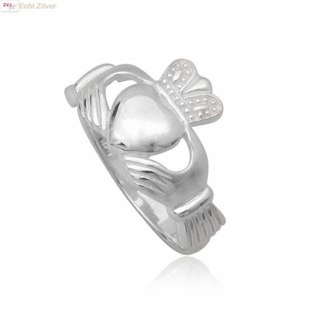 Zilveren keltische heren claddagh ring