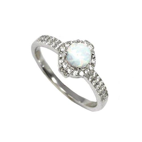 ZilverVoorJou Zilveren witte opaal en zirkonia ring