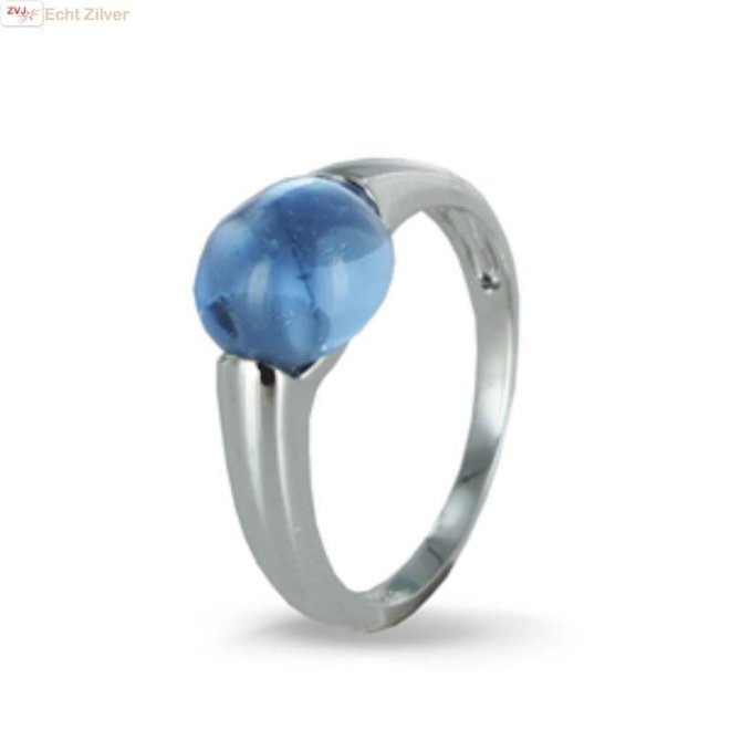 Zilveren ring blauw 8mm ronde glassteen New Bling