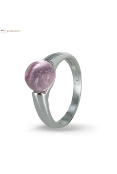 Zilveren ring Roze 8mm ronde glassteen New Bling