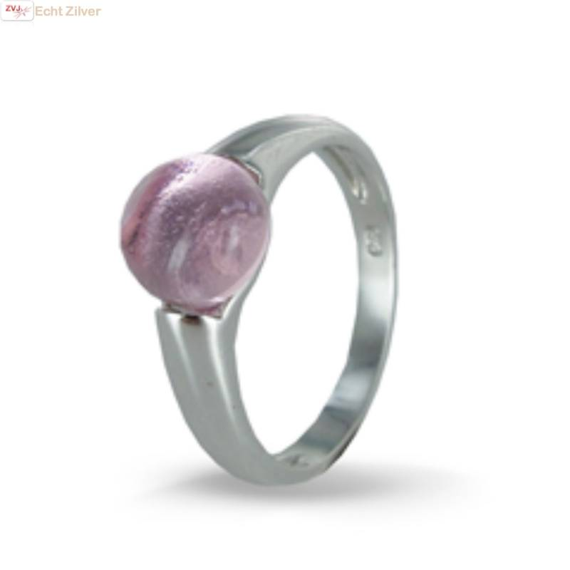 Zilveren ring Roze 8mm ronde glassteen New Bling-1