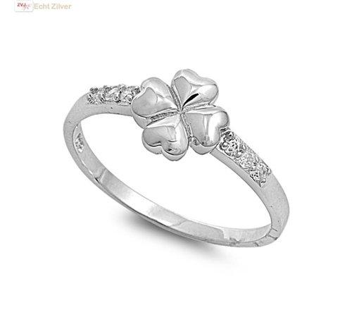 ZilverVoorJou Zilveren klaver vier ring witte zirkoon