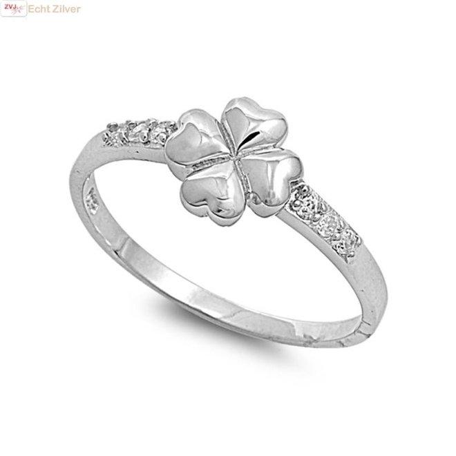 Zilveren klaver vier ring witte zirkoon