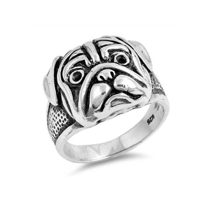 Zilveren Bull Dog ring
