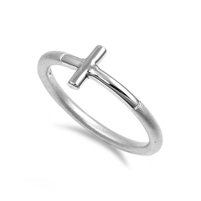 Zilveren mat hoogglans kruis ring